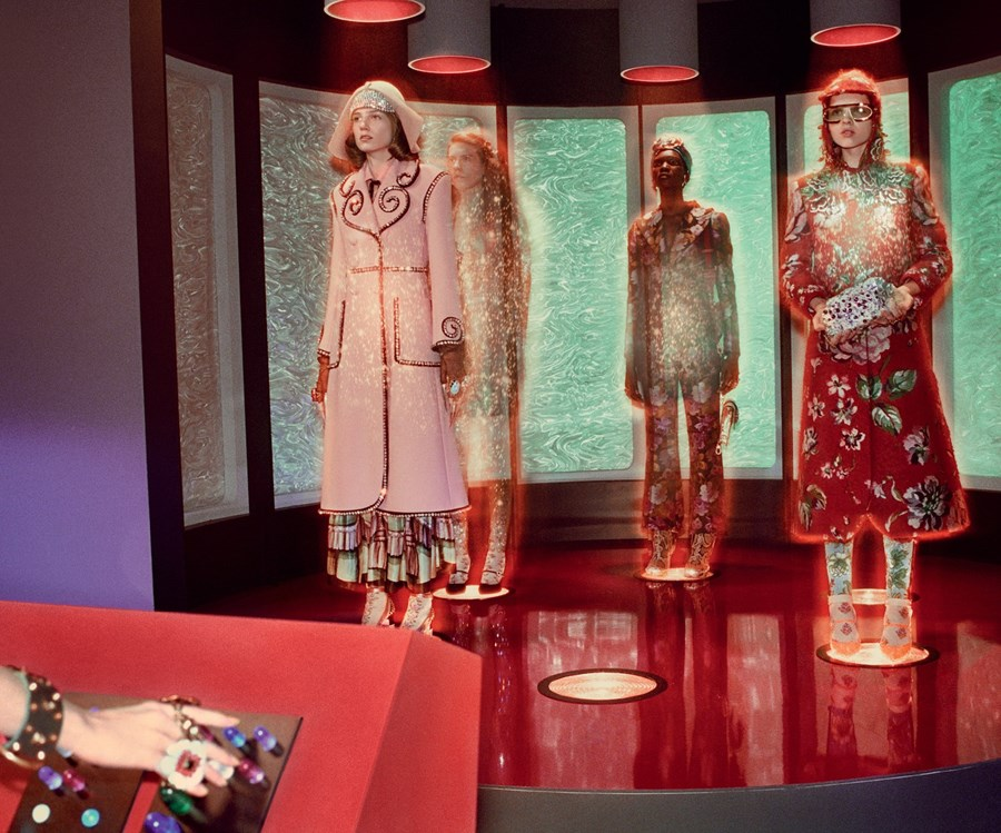 Models Wearing Gucci in Spaceship